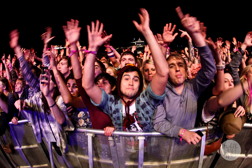 Festival goers rock out to Kanye West at Splendour in the Grass 2011 at Woodfordia, Woodford.