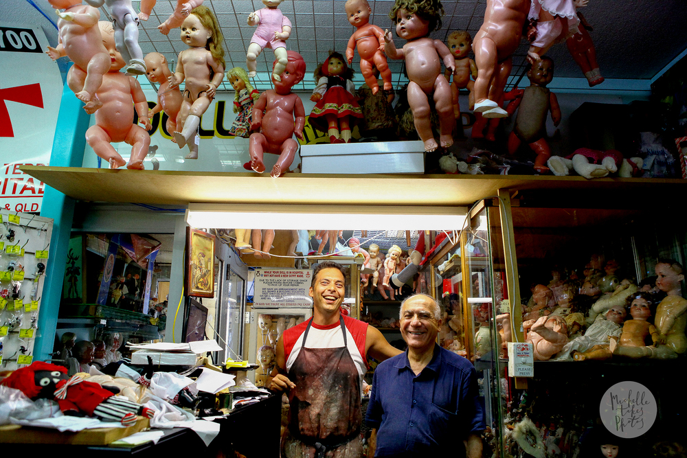 The Doll and Teddy Hospital's new apprentice Laki Augustakis with owner George Georgiou.