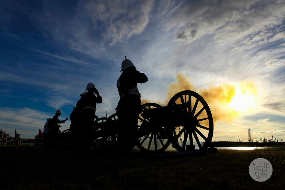 The Queensland Permanent Artillery and Queensland Colonial Association end the day with cannon fire at the History Alive Festival at Fort Lytton National Park.
