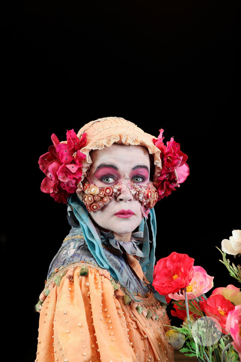 """Emily Tomlins in a costume designed by Romance Was Born for """"Edward Gant's Amazing Feats of Loneliness"""" a co-production by LaBoite and Sydney Theatre Companies."""