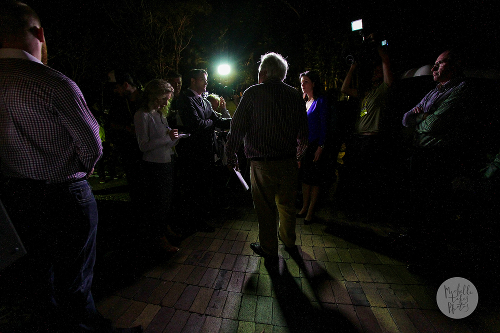 Palmer United Party leader Clive Palmer talks to the media outside the PUP function at Palmer Coolum Resort on the Sunshine Coast on election night. The candidate for Fairfax may win his seat.