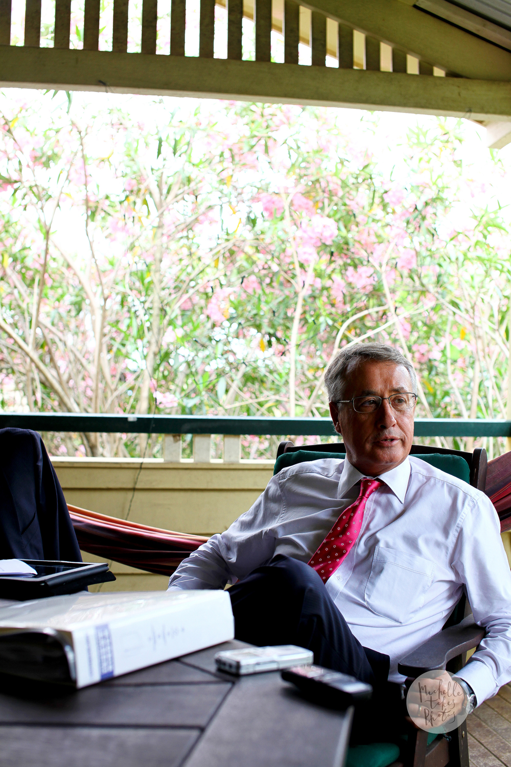 Deputy Prime Minister and Treasurer Wayne Swan at his family home in Kedron, often works from his back deck.