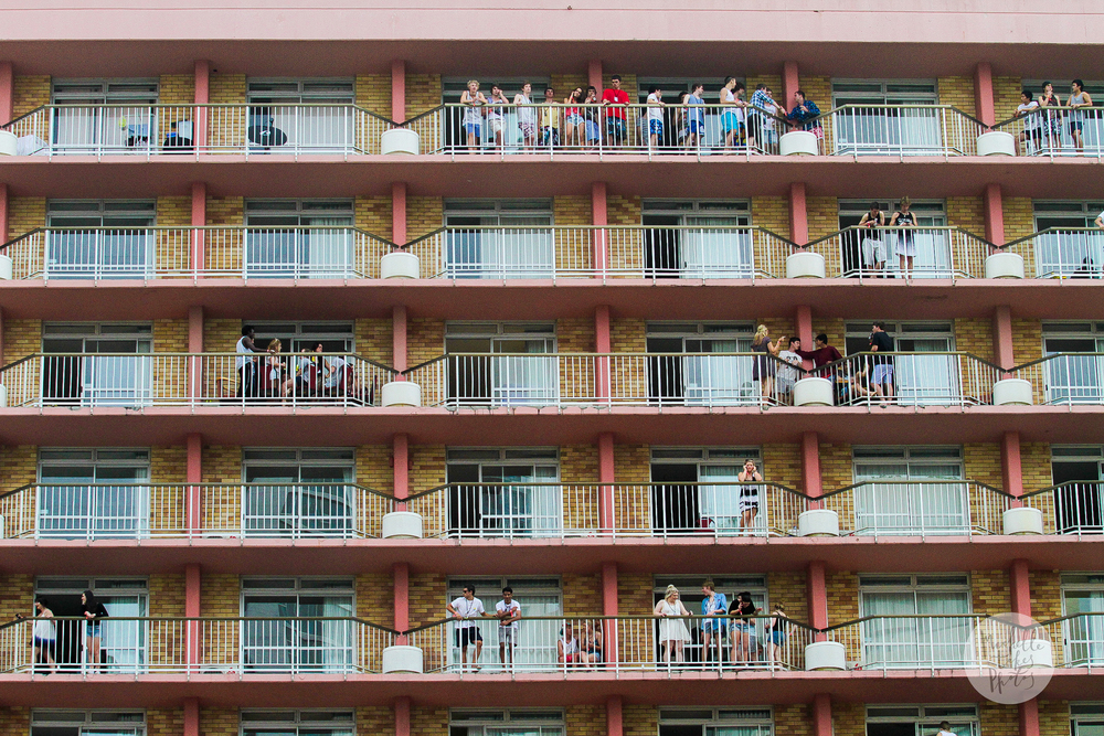 Schoolies on the balconies on the first day of Queensland Schoolies Week at Surfers Paradise on the Gold Coast.