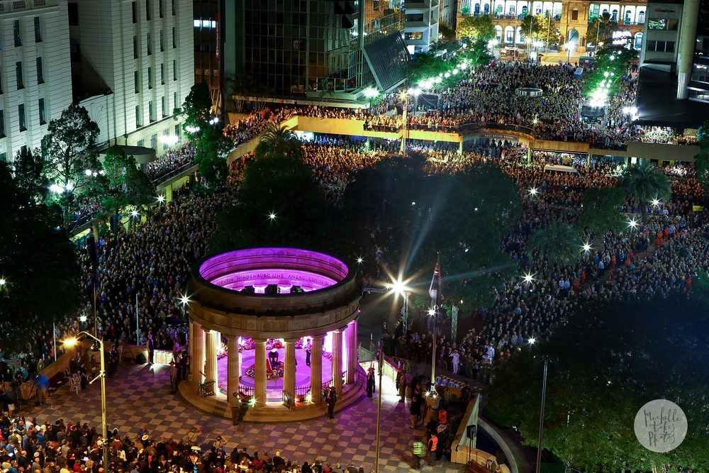 Thousand of people crowd Anzac Square in Brisbane on the 60th Anniversary Dawn Service.