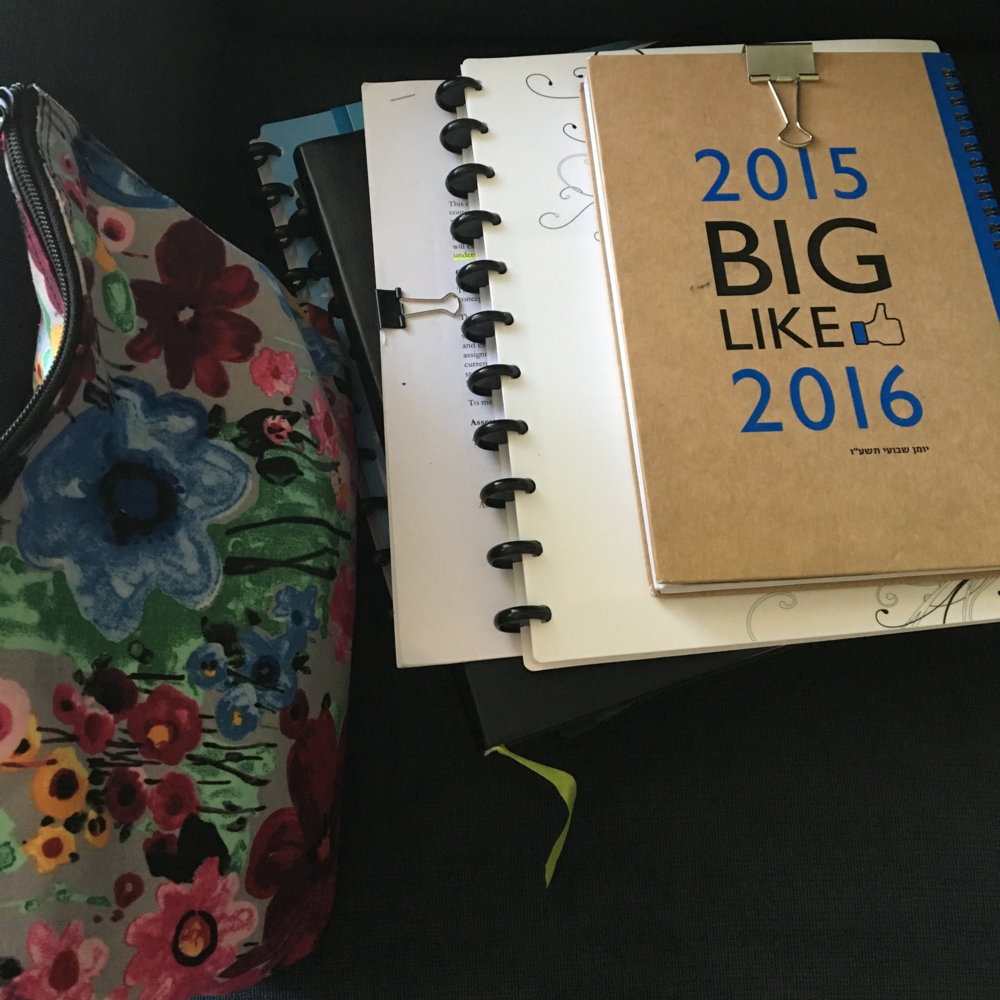 Stack of notebooks and pencil/marker/pen case. Arc notebooks from Staples. Passion Planner for 2016-2017 academic year (YIKES - planning for that already), this year's academic planner from an Israeli stationary shop in Zichron Yaakov and a new blue notebook from a Walmart display I happened upon yesterday.