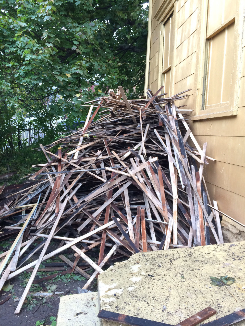 A never ending pile of lath.