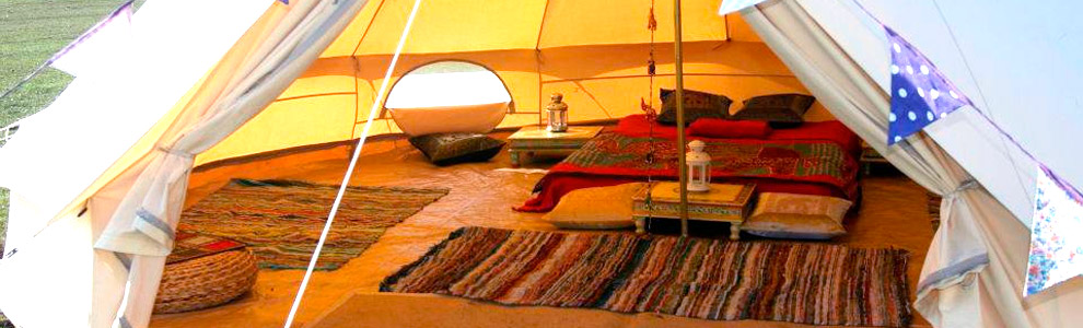 Bring your own tent or camper van, stay in one of our Moroccan yurts or rent one of the luxurious bell tents.