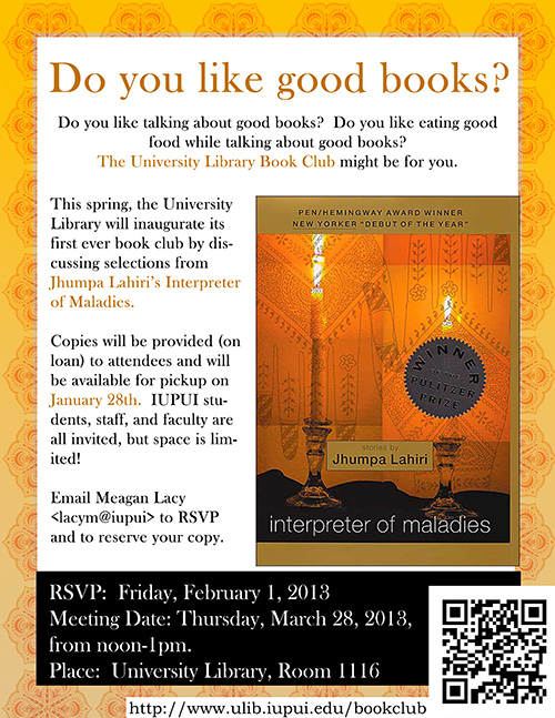 Check out a new diversity book club coming this spring to iupui!    Featured novel: Interpreter of Maladies