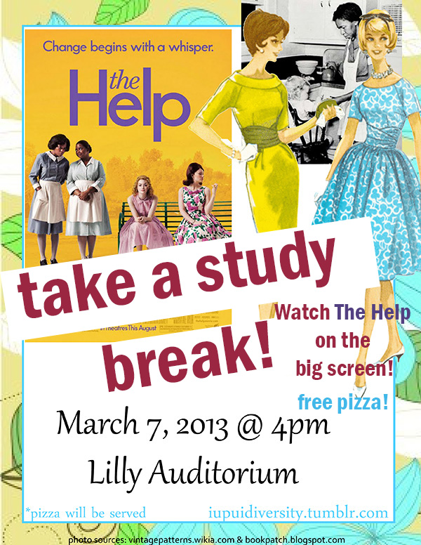 Take a break from studying for Midterm Exams and join us for the screening of The Help! Free pizza will be served.