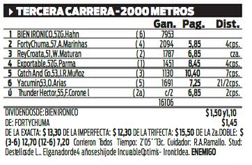 BIEN IRONICO (Incurable Optimist-Ironic Idea, por Interprete), Haras El Paraiso  Ganador de 3 carreras en La Plata, 2do Clásico Uberto F. Vignart G2