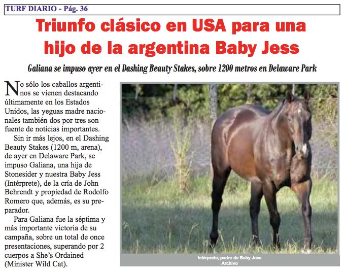 Noticia publicada en Turf Diario