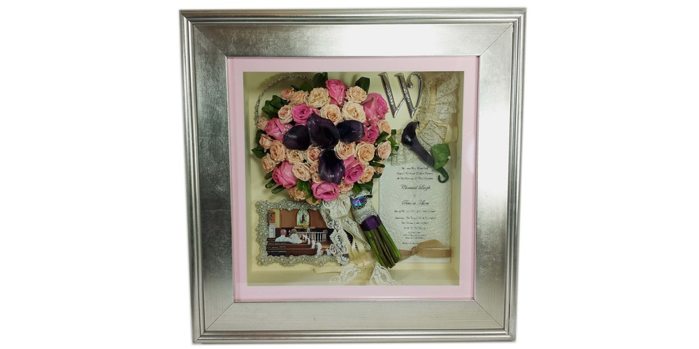 "Freeze dried flower bridal bouquet and accessories preserved in a 16"" x 16"" silver shadow box"