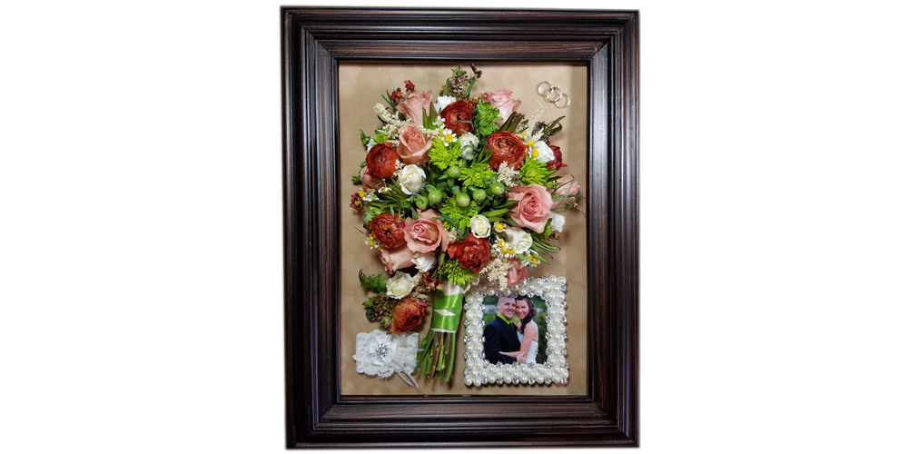 "Freeze dried flower bouquet preserved in 12""x16"" bubble dome"