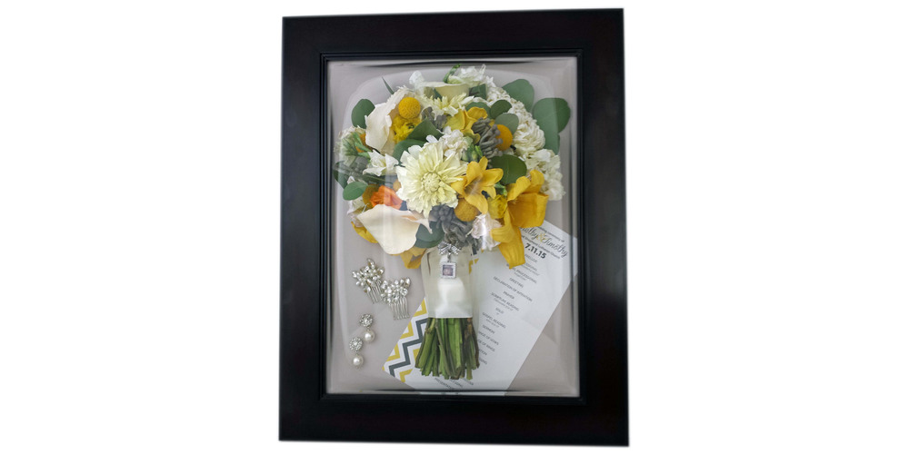 "Freeze dried flower bouquet displayed in a 12"" x 16"" black bubble frame"