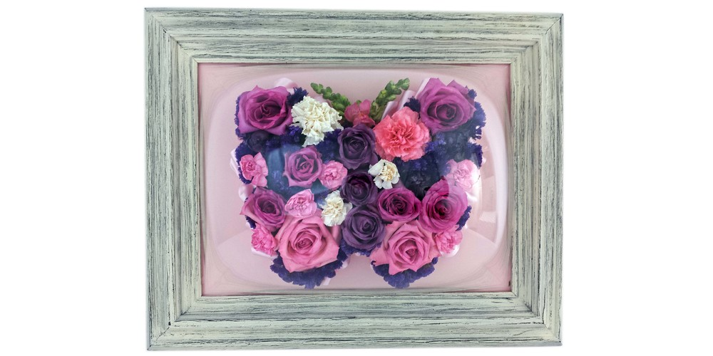 "Freeze dried flower butterfly memorial preserved in a 12"" x 16"" driftwood bubble frame"