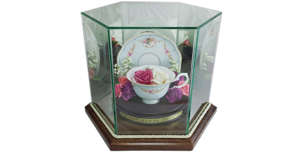 "Freeze dried roses mounted in teacup and preserved in a 8"" x 10"" hexagon case"