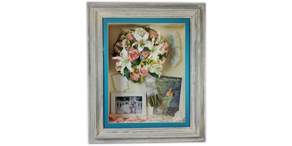 "Freeze dried pink rose bridal bouquet and accessories preserved in a 16"" x 20"" driftwood shadow box"