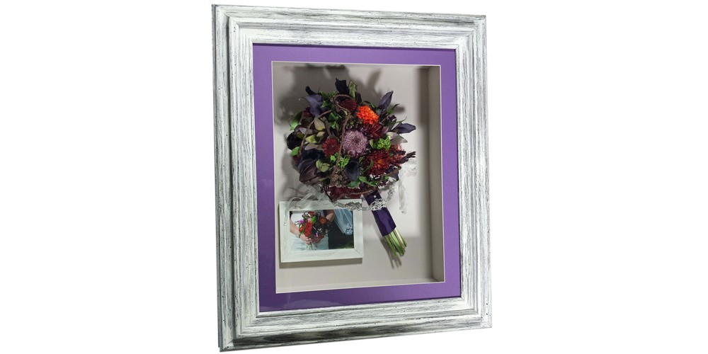 "Dried flower bridal bouquet and accessories preserved in a 16"" x 20"" driftwood shadow box"