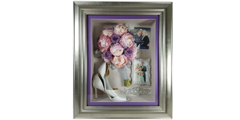 "Freeze dried peony bridal bouquet and accessories preserved in a 16"" x 20"" silver shadow box"