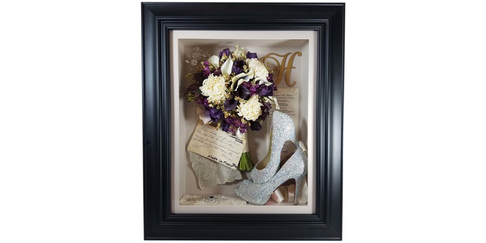 "Dried Flower Bouquet Preserved in a 16""x20"" Classic Black-Framed Shadow Box"