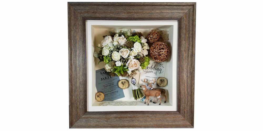 "Preserved bridal bouquet and wedding favors displayed in a 16"" x 16"" rustic shadow box"