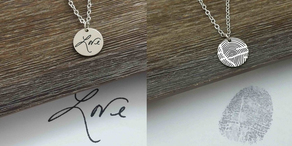 14K white gold necklace with father's handwriting on one side and fingerprint on the other. An heirloom that will be treasured forever!