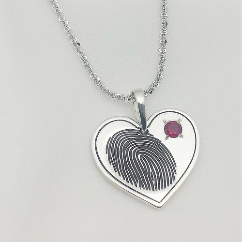 Fingerprint pendant sterling silver heart with 4mm birthstone fingerprint pendant sterling silver heart with 4mm birthstone mozeypictures Image collections