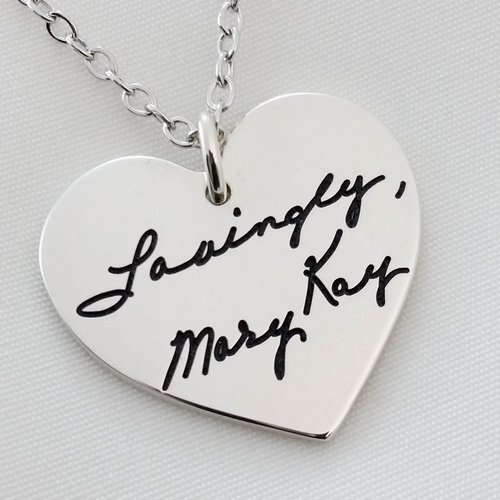 Signature necklace sterling silver heart pendant with custom signature necklace sterling silver heart pendant with custom handwriting aloadofball Gallery