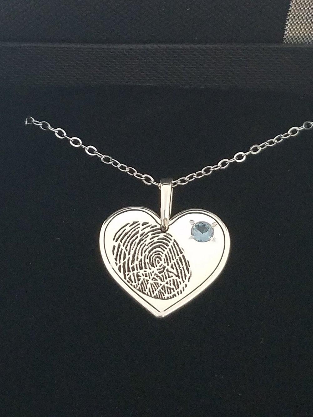 TouchGems® Heart Fingerprint Necklace with Birthstone -