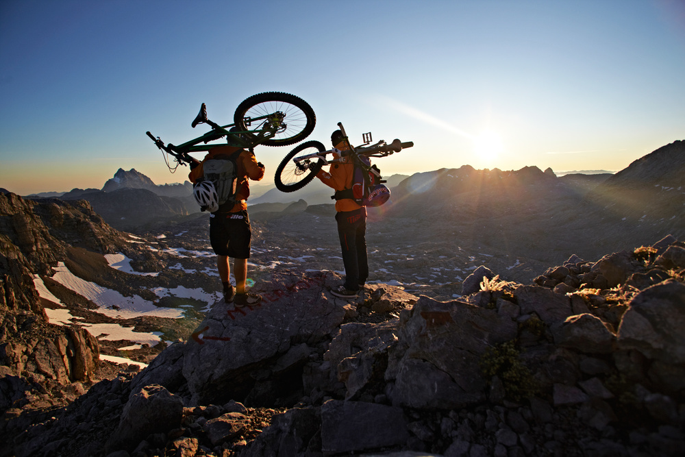Trials World Champion Tom Öhler and me on Breithorn summit © Sebastian Doerk