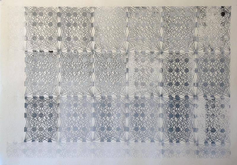 Linoleum Block Print  42 x 29.5 inches  106.68 x 74.93 cm