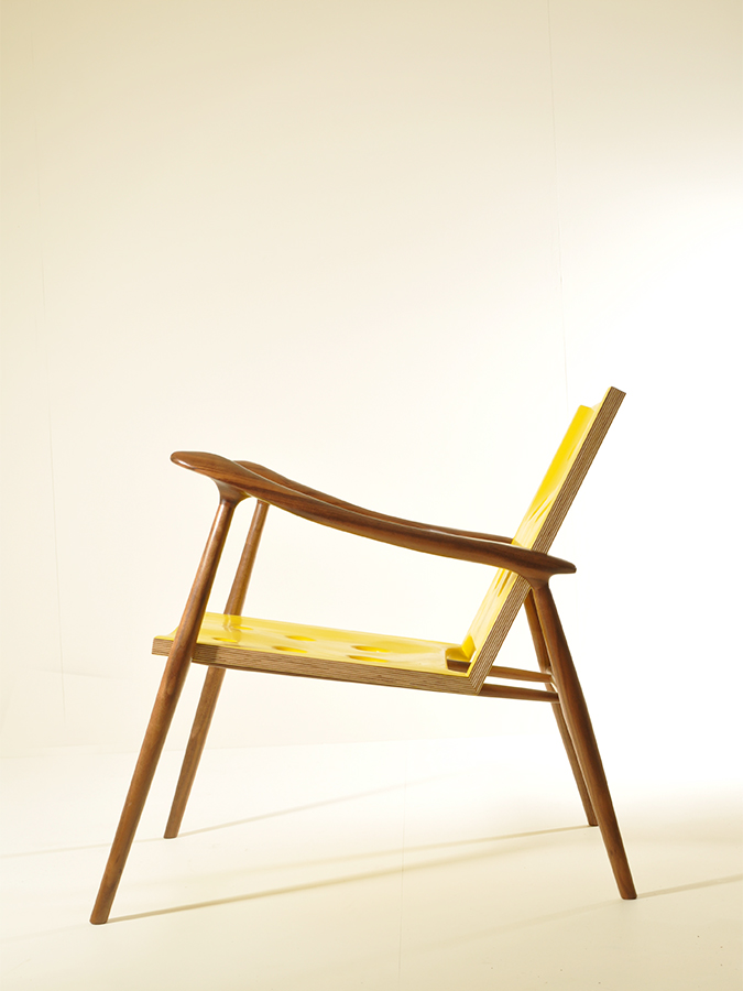 Matt Master's striking Walnut and Birch Ply chair.