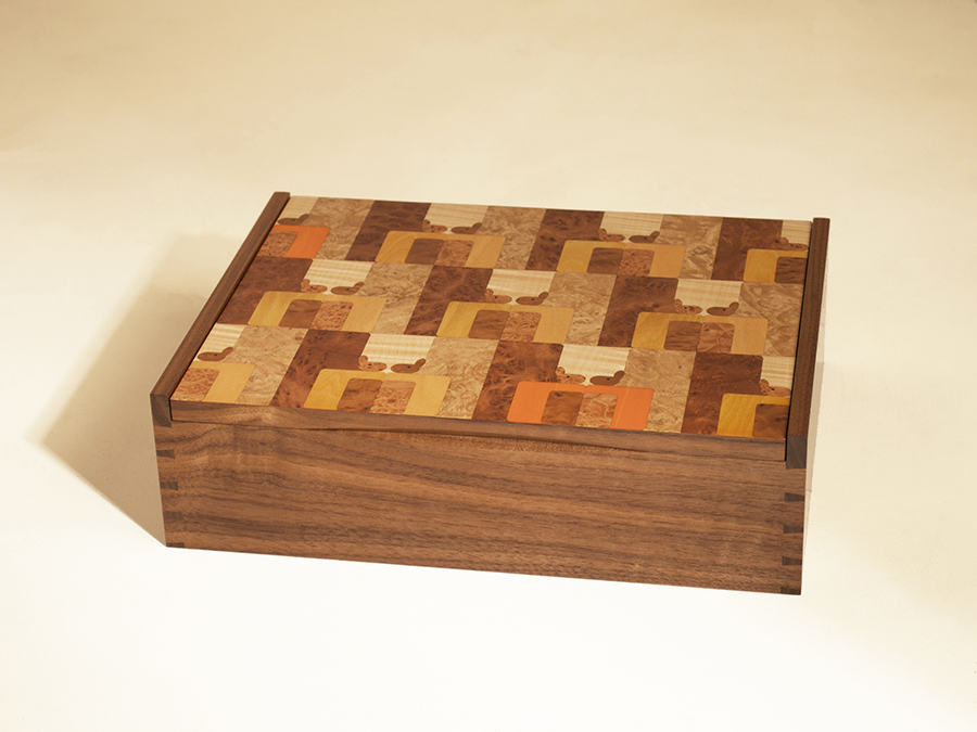 Laura Aldrich-Blake's repeating laser cut abstract squirrel box design.