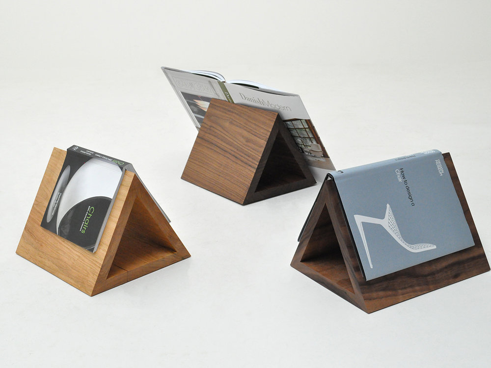 Lauren Goodman's Solid American Walnut and European Cherry Triangle Book Stands.