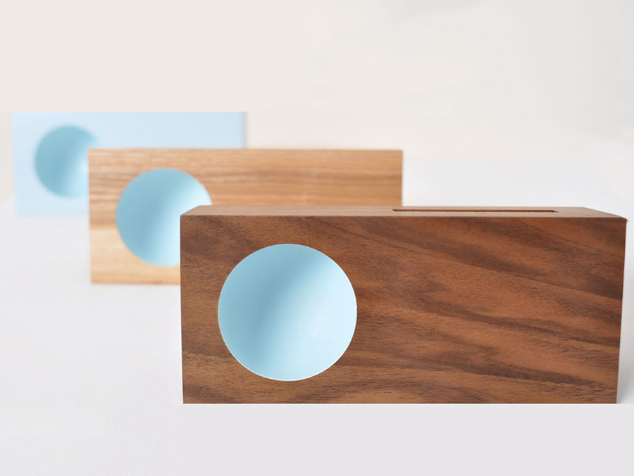 Lauren Goodman's Acoustic Speakers in Walnut, Ash and Solid Pale Blue from our small batch production project.
