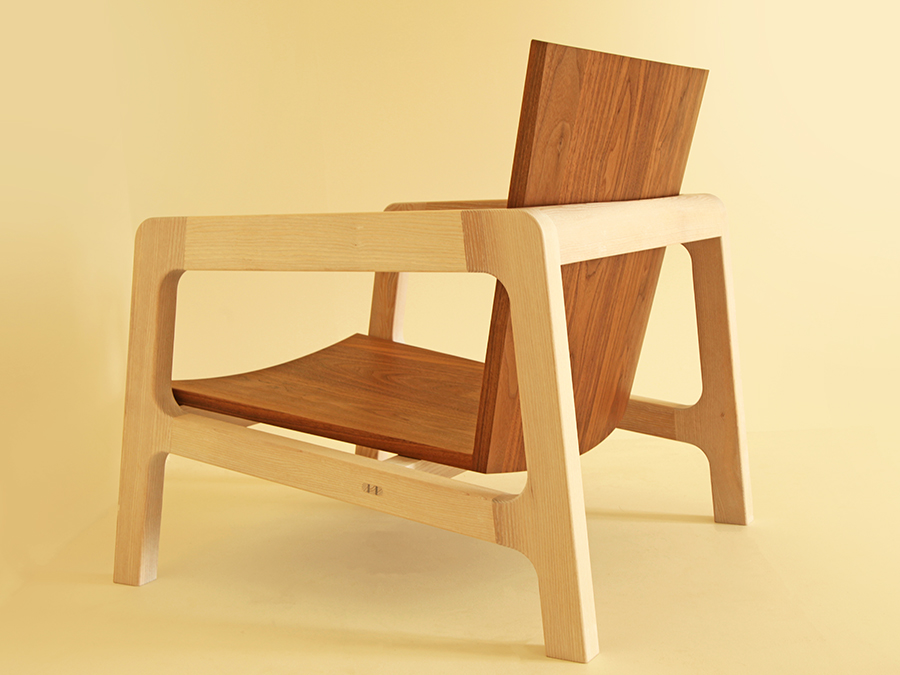 Finn James' Walnut and Ash chair with coopered seat and back.