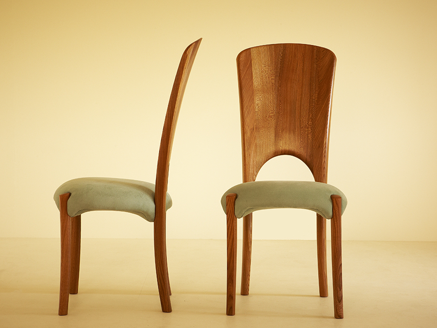 Craig Selman's solid Elm dining chairs.