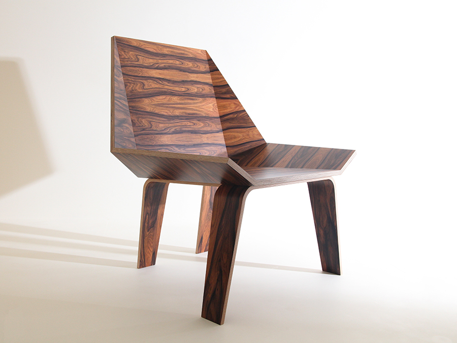 Ruth Bowers Santos Rosewood and Birch Ply lounge chair with exposed Birch Ply edge.