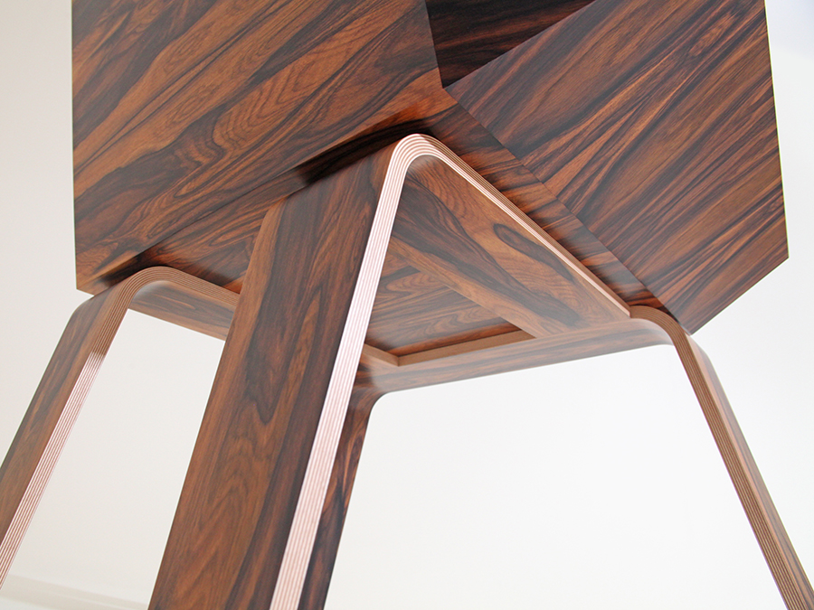 Detail view of Ruth Bowers Santos Rosewood and Birch Ply lounge chair with exposed Birch Ply edge.