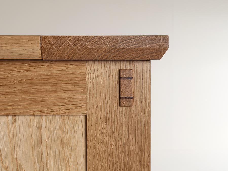 Detail shot.John Nolan's Pippy Oak blanket chest.