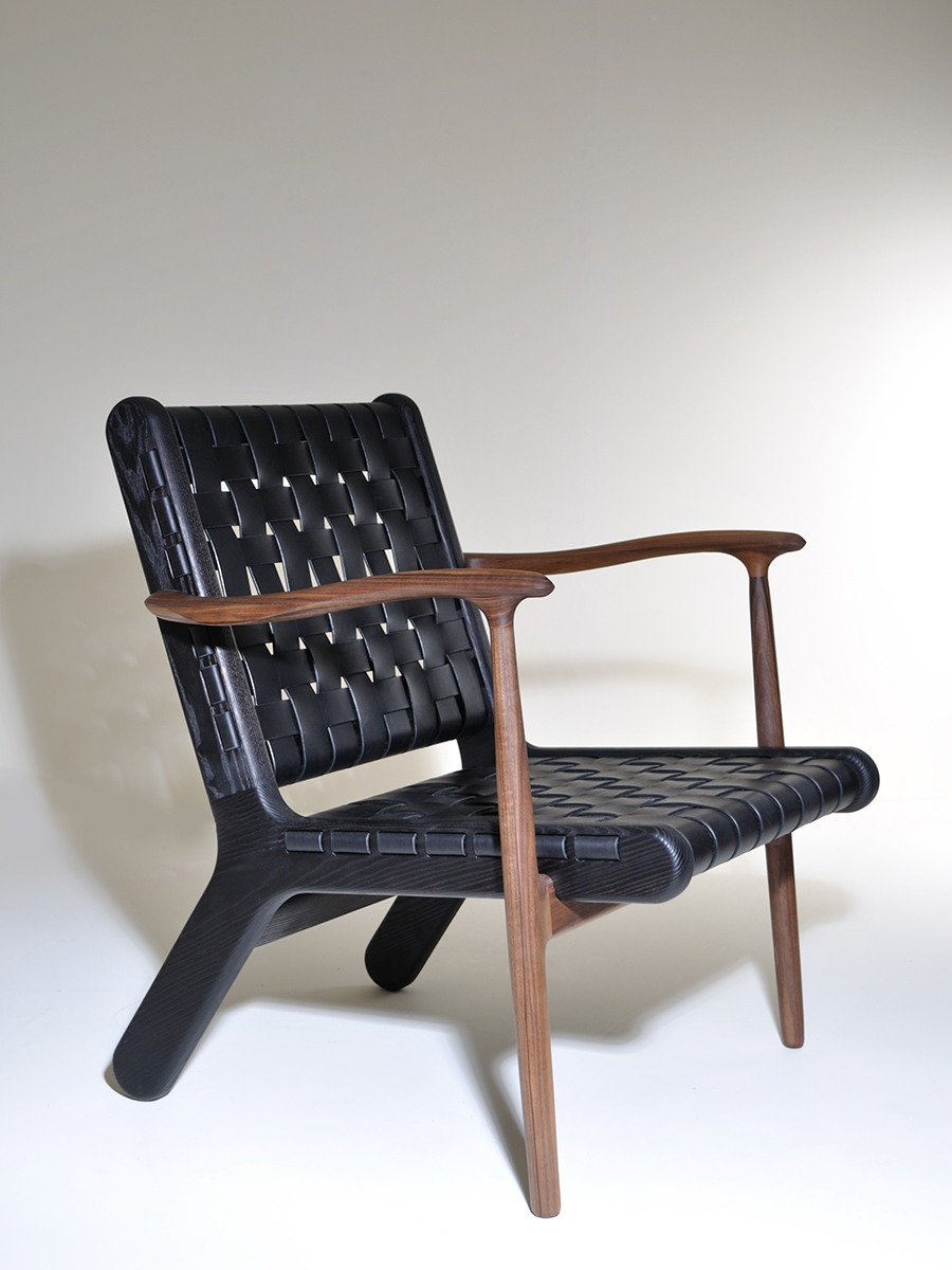 Bonaventure Touton's Scorched Ash and Walnut chair with woven leather upholstery.