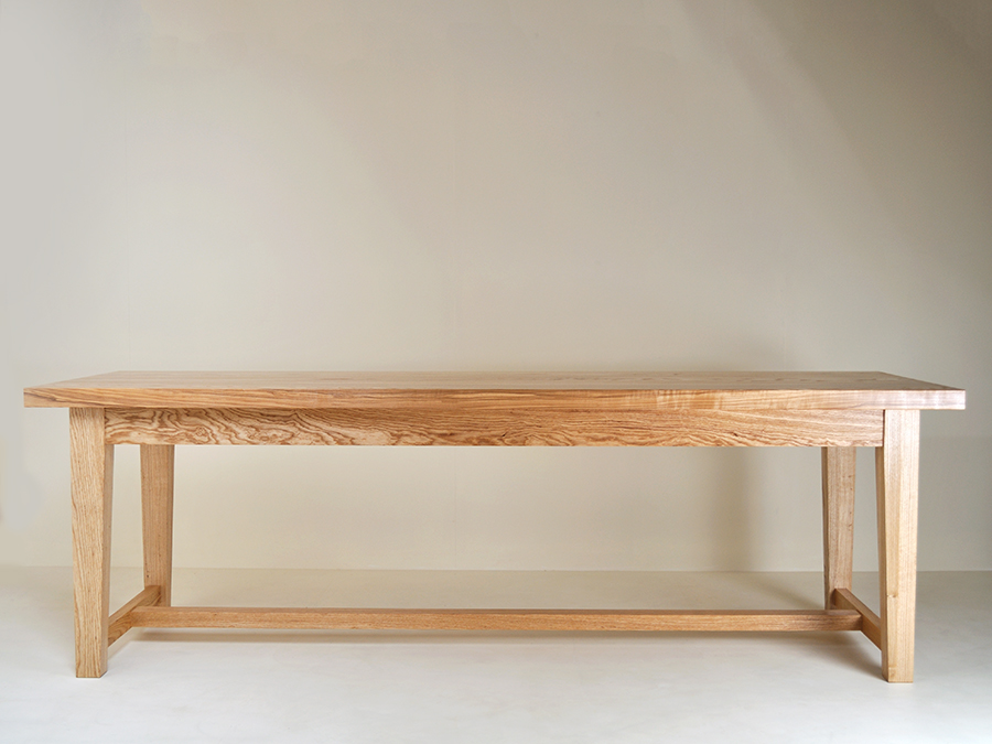 Bona Touton's solid Ash refectory table with  through wedge tenon and joint detail.