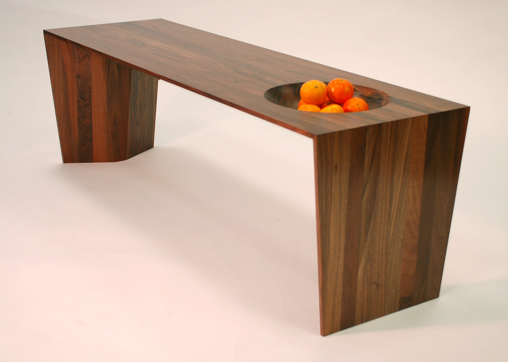 Low Walnut Bowl table by Jane Cleal