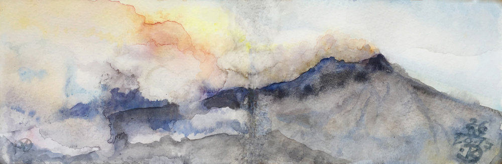 Etna I 2017, watercolour 9 x 28 cm