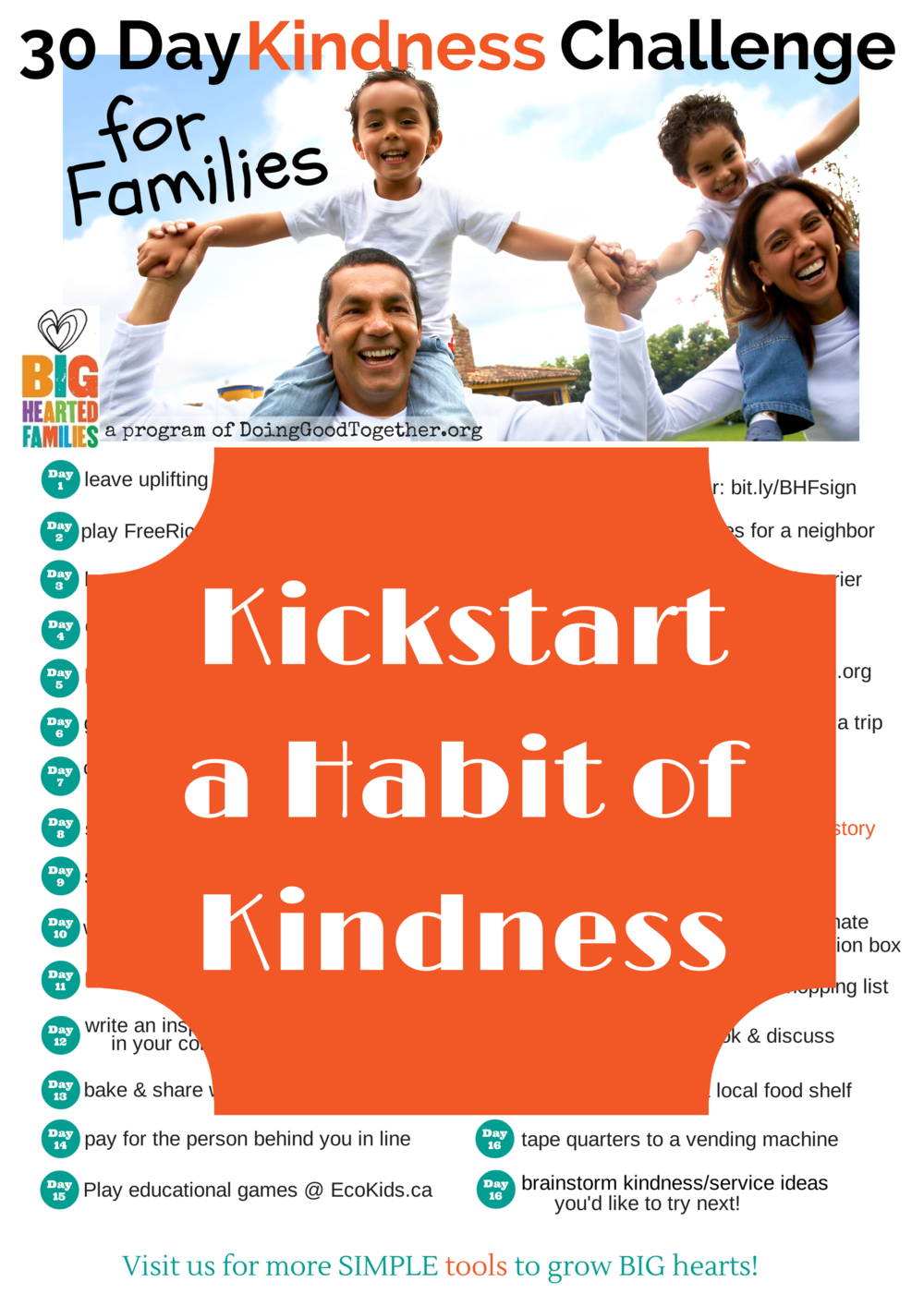 Take the #30Days Kindness Challenge from the Big-Hearted Families Program of DoingGoodTogether.org