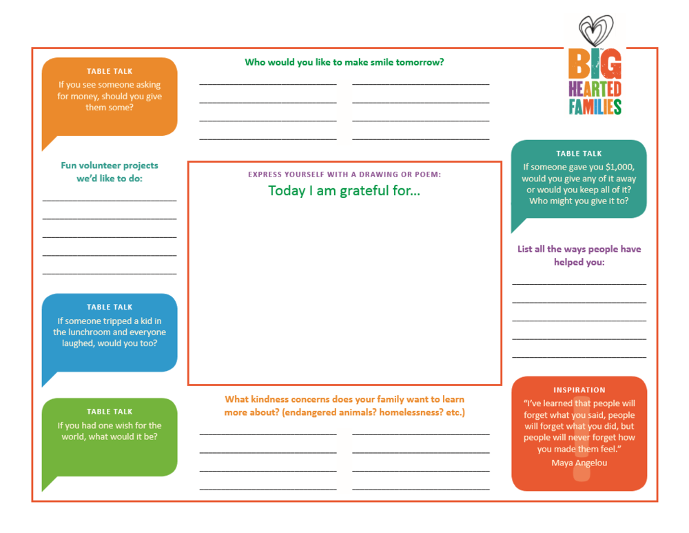 Printable Placemats from DoingGoodTogether.org