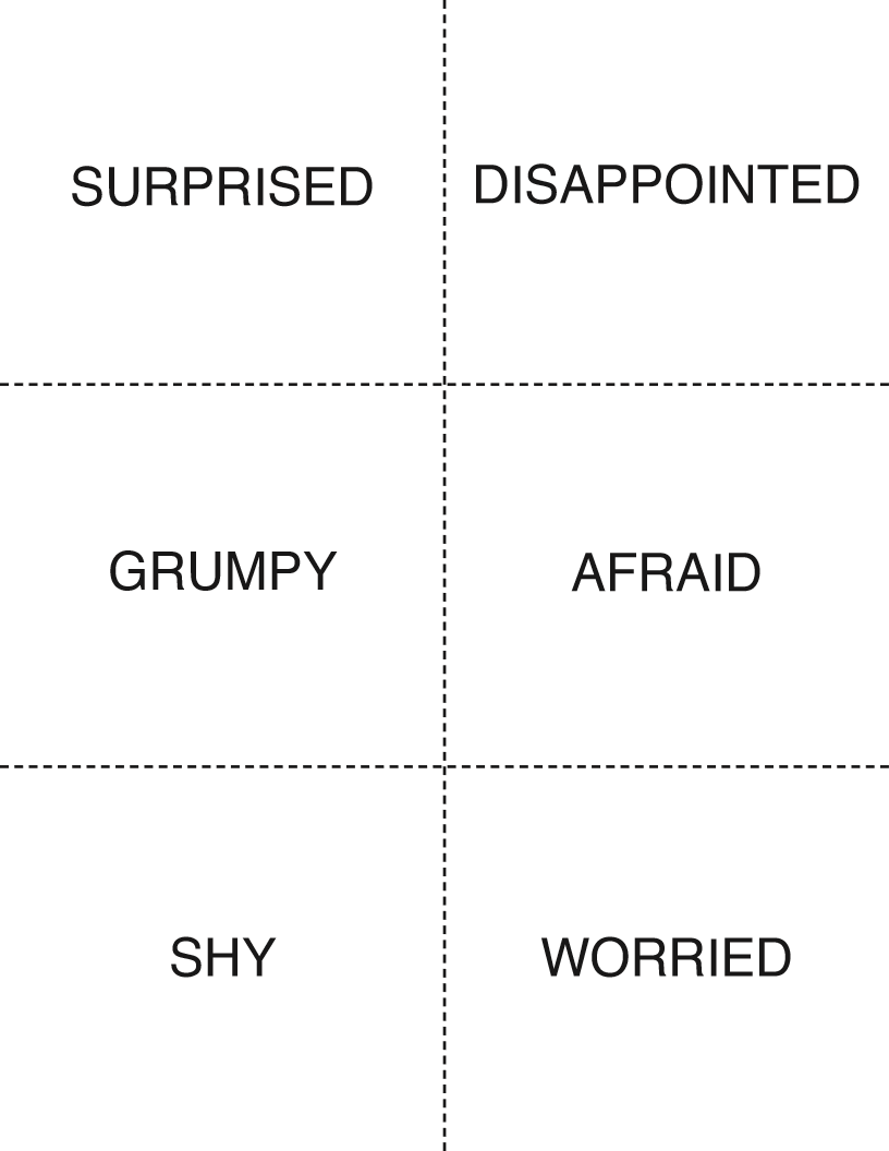 Click here to download nine pages of printable flashcards covering a wide range of emotions.