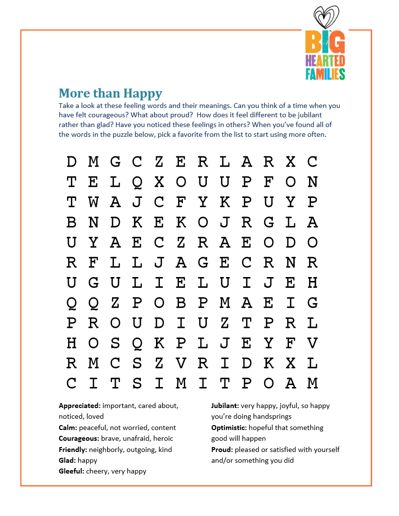 """More than Happy"" word search builds emotional awareness."