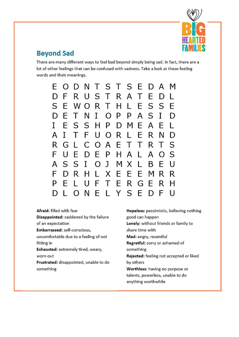 """Beyond Sad"" word search builds emotional awareness."