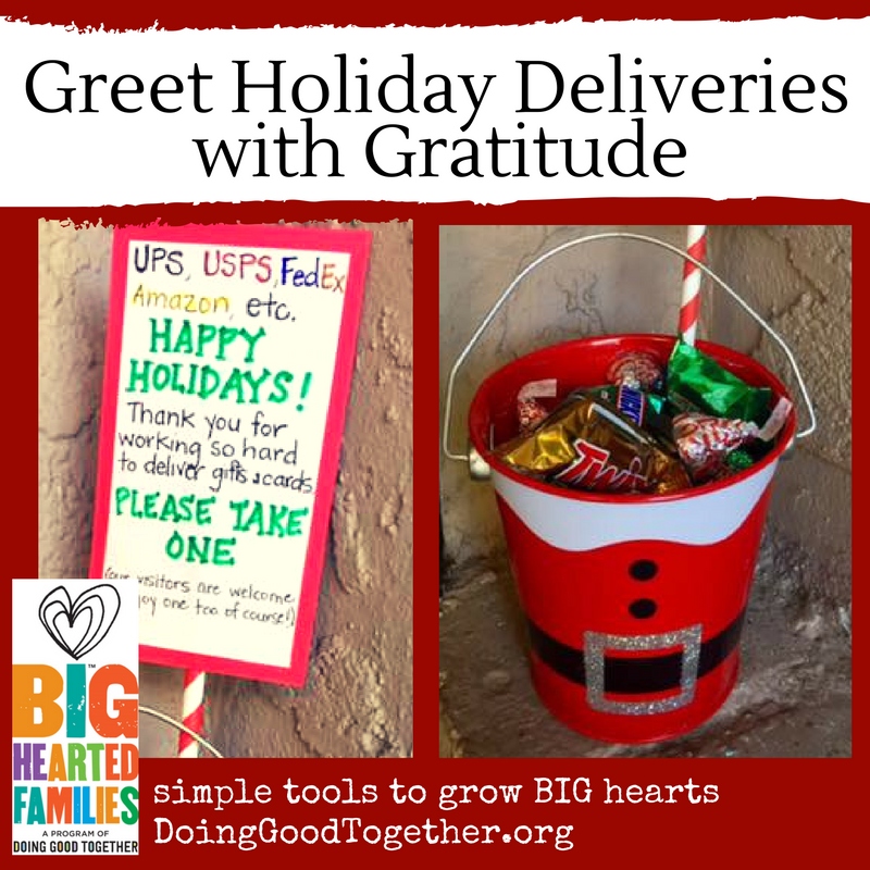 Share a bit of kindness with the folks delivering cards and packages during the holiday rush.